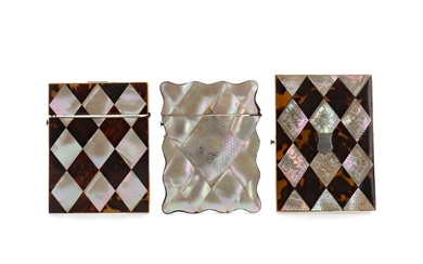 THREE LATE 19TH CENTURY MOTHER OF PEARL AND TORTOISESHELL CARD CASES