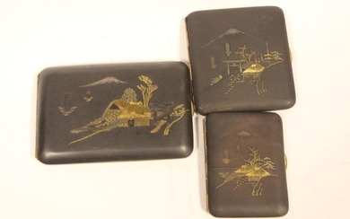 Three Japanese Mixed Metal Case,Signed