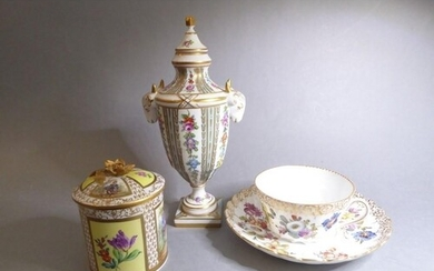 Three pieces of Dresden porcelain: a fine neo-classical-styl...