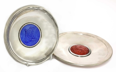 Two Art Deco silver dishes