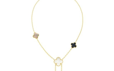 Van Cleef & Arpels Gold, Black Onyx, and Mother-of-Pearl 'Magic Alhambra' Necklace