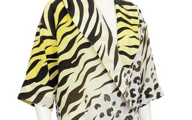 Versace Leopard and Tiger Print Short Sleeve Blouse