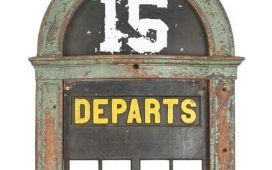 WALL MOUNTED CAST IRON RAILROAD TRACK DEPARTURE SIGN.