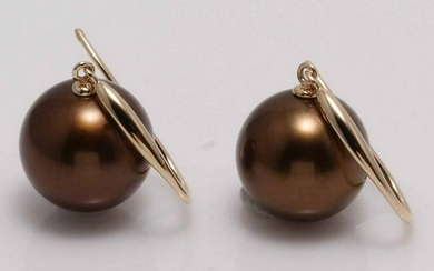 14 kt. Yellow Gold - 10x11mm Chocolate Tahitian Pearls