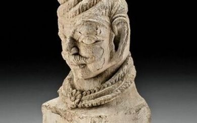 15th C. Indian Rajasthan Stucco and Stone Bust
