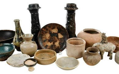 17 Pieces Early Chinese Pottery Vessels and Figure