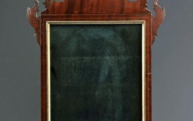 18th C. American Wood & Glass Chippendale Mirror