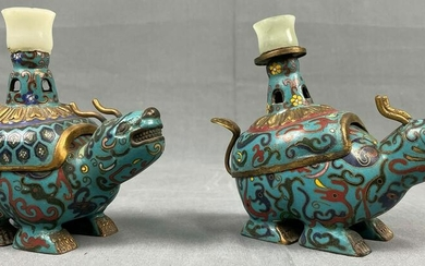 2 lidded vessels. Cloisonne. Incense burners? Probably