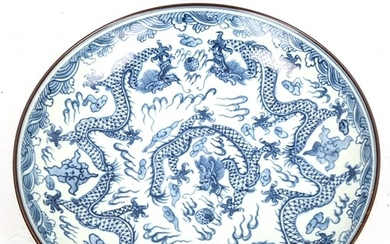 A Chinese blue and white porcelain dragon bowl, 6 character ...