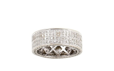 A FOUR ROWED DIAMOND SET RING, mounted in 18ct white gold. ...