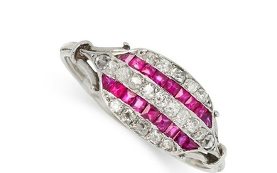 A FRENCH ART DECO RUBY AND DIAMOND RING in platinum