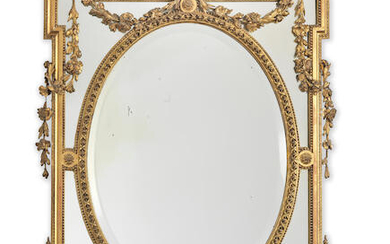 A French late 19th century giltwood and gilt composition marginal mirror