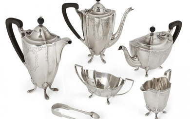 A George VI five-piece silver tea set , Birmingham, c.1950, Barker Brothers, comprising tea pot, coffee pot, hot water pot, sugar and milk, together with an associated pair of Victorian silver sugar nips, the Barker Bros pieces all of shaped oval...