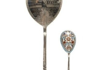 A LARGE SILVER AND NIELLO SPOON SHOWING AN