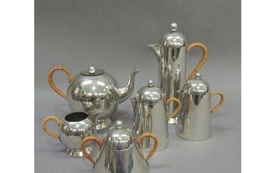 A Nick Munro polished pewter six piece tea and coffee servic...