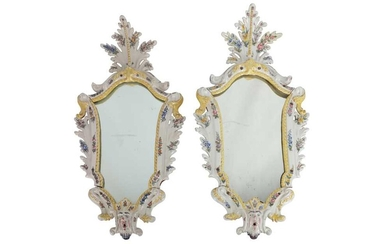 A PAIR OF NORTH ITALIAN POLYCHROME DECORATED MAJOLICA MIRROR FRAMES, 18TH CENTURY