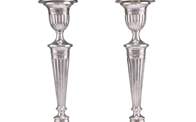 A PAIR OF VICTORIAN SILVER CANDLESTICKS, by William Williams...