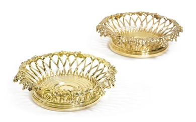 A Pair of American Silver-Gilt Large Wine Coasters, Howard & Co., New York, Late 19th Century