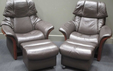 """A Pair of """"Ekornes Stressless Eldorado"""" high back leather reclining armchairs with rising"""