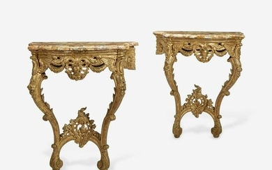 A Pair of Louis XV Style Pier Tables with Marble Tops
