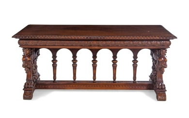 A Renaissance Revival Carved Walnut Refectory Table