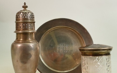 A collection of hallmarked Silver items: Including sugar sif...