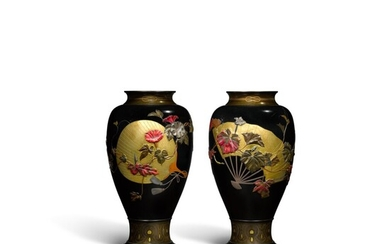 """A fine pair of bronze vases 