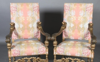 A pair of Continental walnut armchairs in late 17th century ...