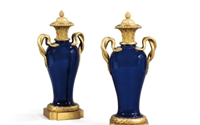 A pair of Louis XVI style gilt-bronze-mounted powder blue Chinese porcelain vases, late 19th century