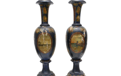 A pair of two vases in lacquered wood