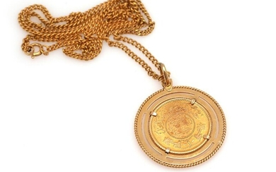 A pendant set with an 21.6k gold coin, mounted in 18k gold. And a 14k gold necklace. L. pendant 4.3 cm. L. necklace 52 cm. (2) – Bruun Rasmussen Auctioneers of Fine Art