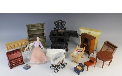 A selection of vintage dolls house furniture and accessories...
