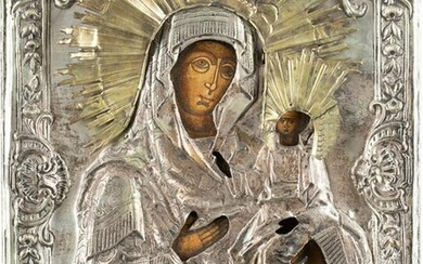 AN ICON SHOWING THE SMOLENSKAYA MOTHER OF GOD WITH