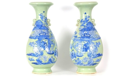 AN IMPRESSIVE PAIR OF 19TH CENTURY CHINESE CELADON AND