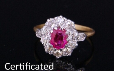 ANTIQUE PINK SAPPHIRE AND DIAMOND CLUSTER RING, set with a c...