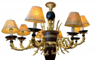 An Empire Style Patinated Bronze Eight Light Chandelier