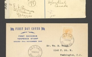 Bahamas Covers and Cancellations A King George VI group of covers (30) including registered env...