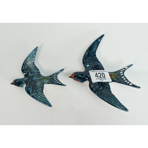 Beswick pair of Swallows wall plaques: 757-2 and 3. (2)