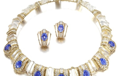 Boucheron | Rock crystal, sapphire and diamond demi-parure | 寶詩龍 | 白水晶配藍寶石及鑽石首飾套裝, Boucheron | Rock crystal, sapphire and diamond demi-parure | 寶詩龍 | 白水晶配藍寶石及鑽石首飾套裝