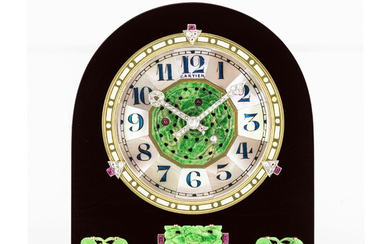 CARTIER, ONYX, JADE, MOTHER OF PEARL WITH DIAMOND AND RUBY-SET DESK CLOCK