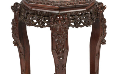 Chinese Hardwood & Marble Table