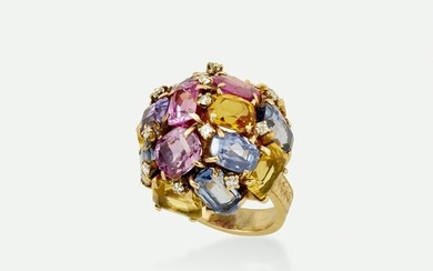 Colored sapphire, citrine, and diamond ring