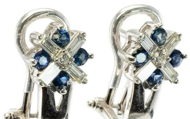Diamond Sapphire Earrings 14K White Gold Vintage