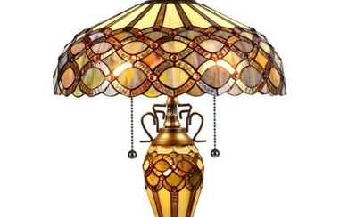 Edwardian Style Stained Art Glass Table Lamp