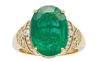 Emerald, Diamond, Gold Ring Stones: Oval-shaped emerald weighing 6.36...