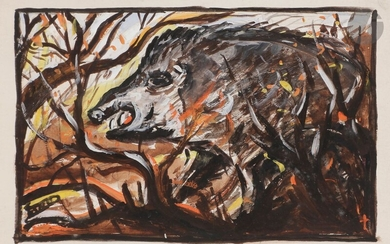 Ferdinand DESNOS (1901-1958)TheSnared Hare - The Weasel - The Little Fawn - The Old Loner - The CrowsWatercolorand gouache highlights.Signed lower right.Signed and titled on the back.10,5 x 16 cm