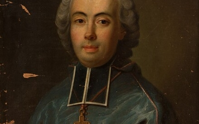 """French school; late 18th century. """"Portrait of a clergyman. Oil on canvas. It presents faults,..."""