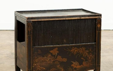 GEORGIAN STYLE JAPANNED COMMODE CHAIR / SIDE TABLE