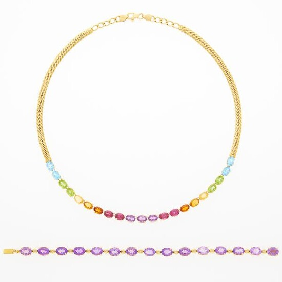 Gold and Multicolored Stone Necklace and Amethyst and Diamond Bracelet