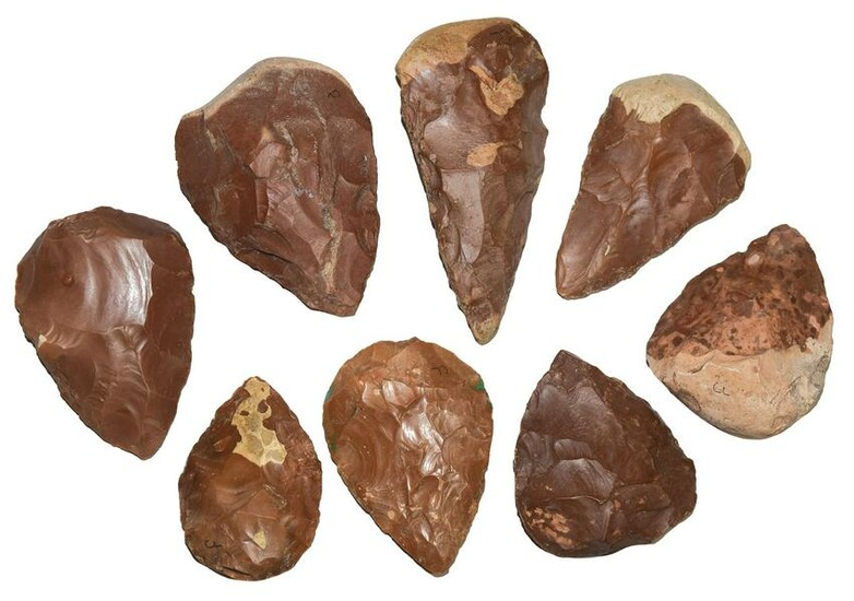 """Group of 10 Paleolithic Hand Axes. 3""""-4 3/4"""". France."""